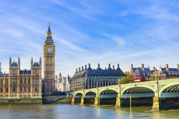FototapetaWestminster Bridge, Houses of Parliament and Thames river, UK