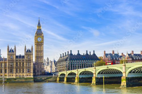 Spoed Foto op Canvas Londen Westminster Bridge, Houses of Parliament and Thames river, UK