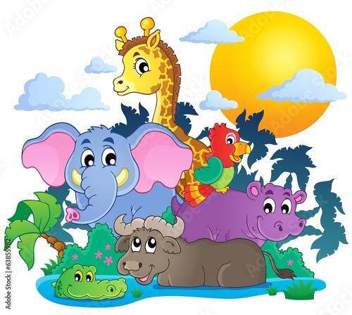 zwierzatka-afryki-na-tle-palm-i-sloneczka