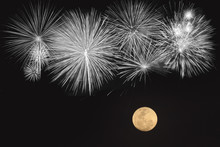Fireworks And Full Moon  Over ...