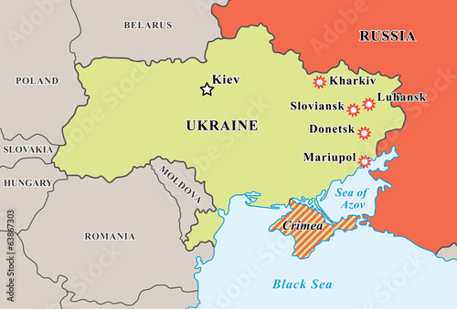 Ukraine crisis map. Pro-russians protests in the eastern cities. Canvas Print