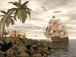 Panel Szklany Żagle Pirate ship finding treasure - 3D render