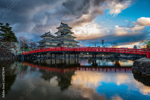 Photo Stands Japan Matsumoto Castle, Japan