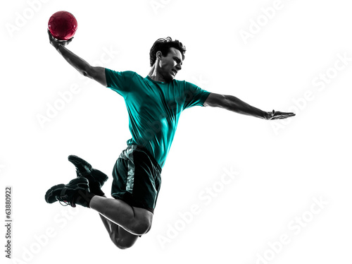 Tablou Canvas young man exercising handball player silhouette