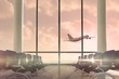 Airplane flying past departures lounge window