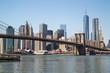 New York City Manhattan downtown skyline Brooklyn Bridge