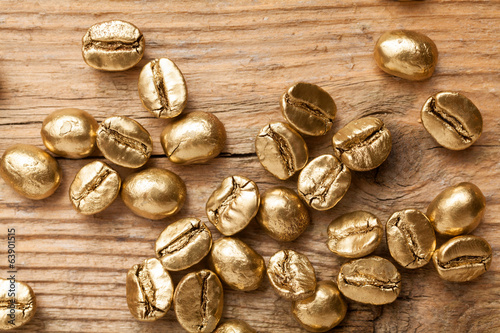 Golden beans of coffee