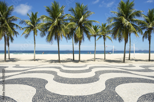 Foto auf Gartenposter Rio de Janeiro Copacabana Beach Boardwalk Pattern Rio de Janeiro Brazil
