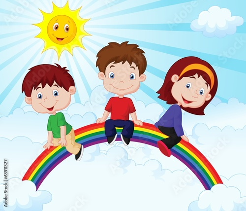 Happy kids sitting on rainbow