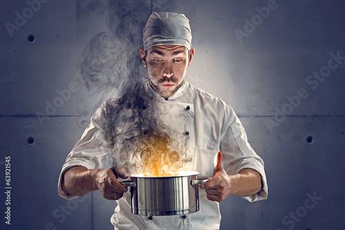 Leinwand Poster Chef brannte das Essen