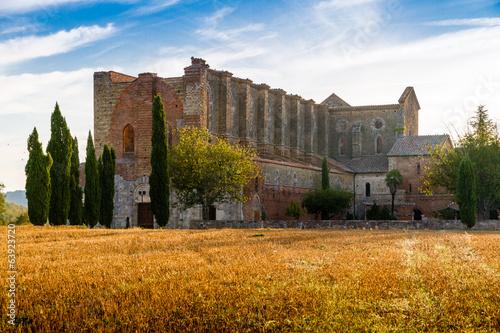 San Galgano roofless abbey Tuscany Canvas Print