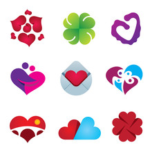 Beautiful Feeling Of Love Emotion Heart Design Icon Set