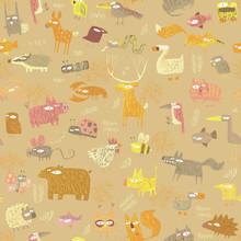 Grunge Animals Seamless Pattern
