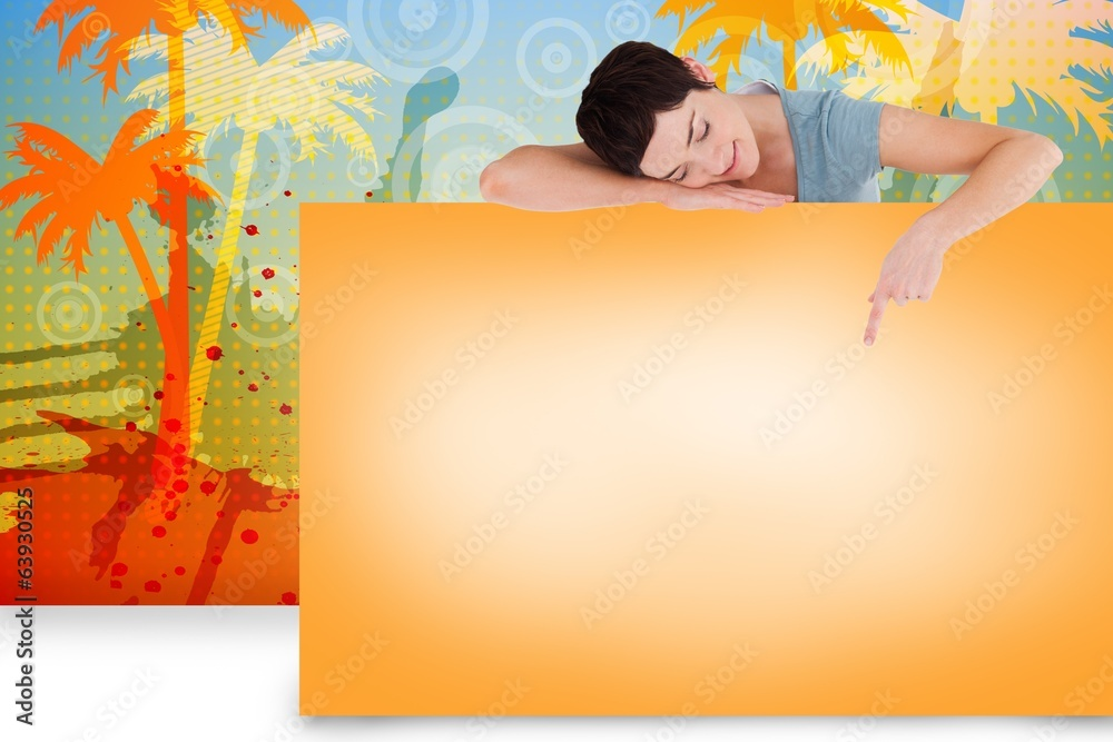 Fototapety, obrazy: Composite image of pretty brunette showing card