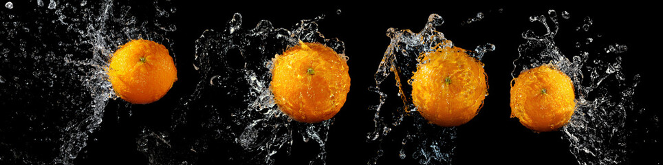Obraz na Szkle Do kawiarni Set of fresh oranges in water splash