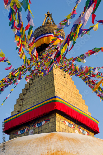 Spoed Foto op Canvas Nepal Boudhanath Stupa in Kathmandu, Nepal