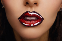 Woman Lips With Glossy Lipstick. Comic Style