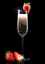 Glass Of Champagne With Tasty ...