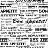 """Seamless """"Bon appetit!"""" pattern."""