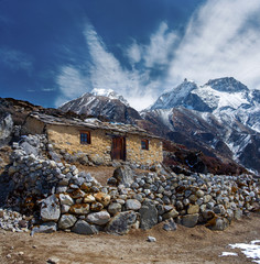Stone cabin in the mountain, along the trail to Mount Everest Ba