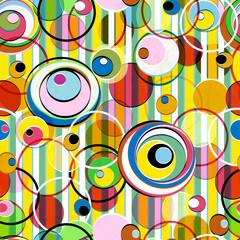 Panel Szklany Abstrakcja vivid colors in a seamless pattern, circles + stripes