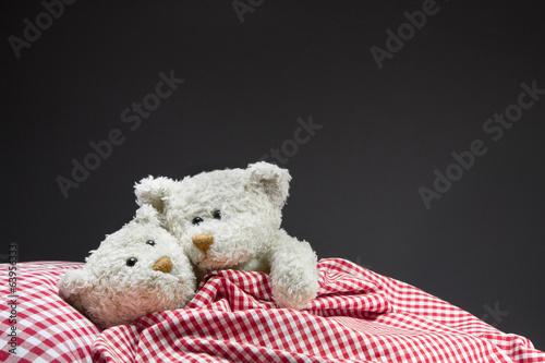Verliebte Teddybären im Bett