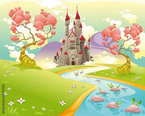 Tuinposter Purper Mythological landscape with medieval castle.