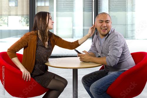 Fotografie, Obraz  rude interracial couple on a bad date