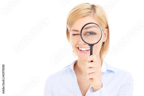Fotografie, Tablou  Businesswoman and magnifier