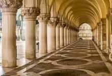 Ancient Columns In Venice. Arches In Piazza San Marco, Venezia