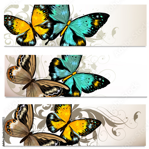 Fotobehang Vlinders in Grunge Business cards set with butterflies for design