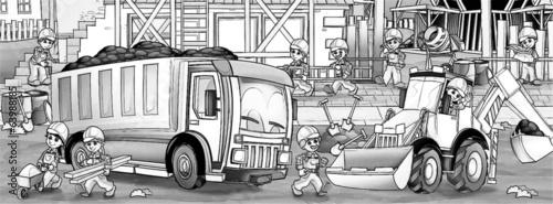 In de dag Cartoon draw Construction set - coloring page