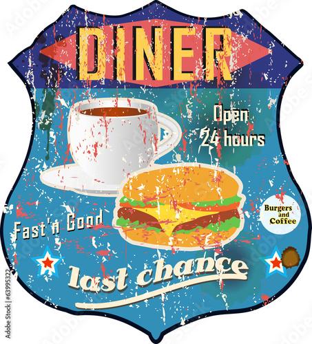 Vintage diner sign, road sign vector