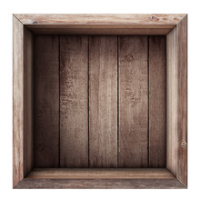 Wooden Box Or Crate Top View Isolated On White