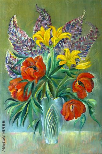 bukiet-fioletowych-zoltych-i-czerwonych-kwiatow-obraz-olejny