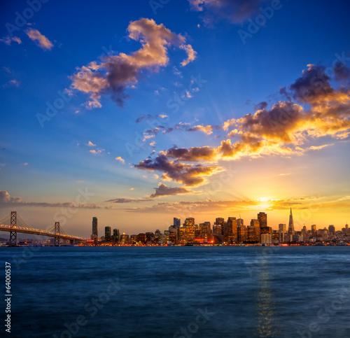 Foto auf AluDibond San Francisco San Francisco skyline at sunset, California, USA
