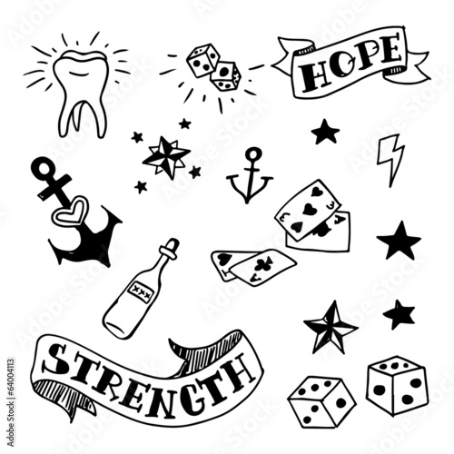 ca6150a8c8d43 set of old school tattoos elements - Buy this stock vector and ...