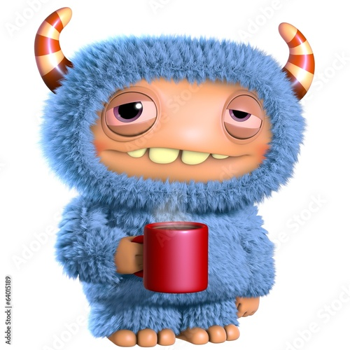 Foto op Canvas Sweet Monsters 3d cartoon blue monster