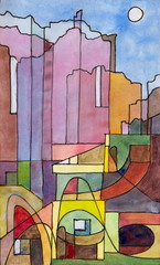 Obraz na Szklea semi-abstract painting of buildings on the island of Capri
