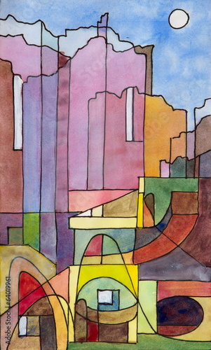 a semi-abstract painting of buildings on the island of Capri - 64019961