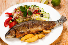 Fried Trout And Potato Wedges