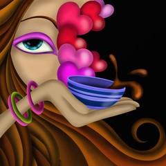 viso di donna e tazzina di caffè