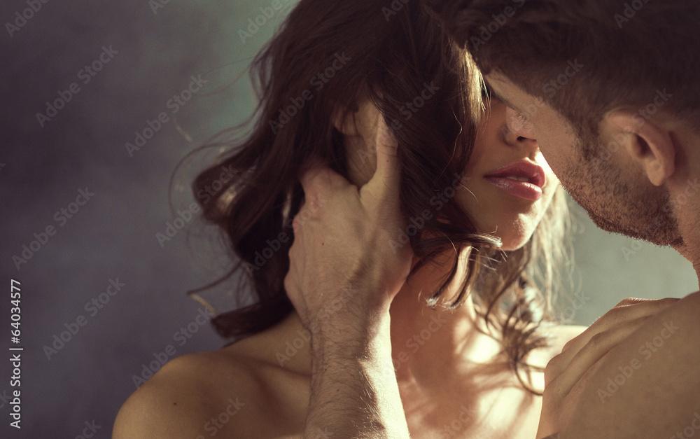 Fototapety, obrazy: Sensual woman kissing her husband