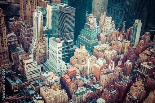 Keuken foto achterwand New York Aerial view of Manhattan skyline at sunset, New York City