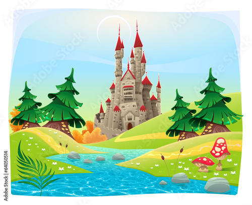 Papiers peints Chateau Mythological landscape with medieval castle.