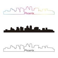 Phoenix Skyline Linear Style With Rainbow