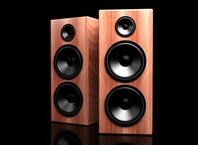 Two Classic Wooden Speakers On...