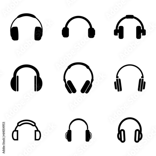 Fotografia  Vector black headphone icons set