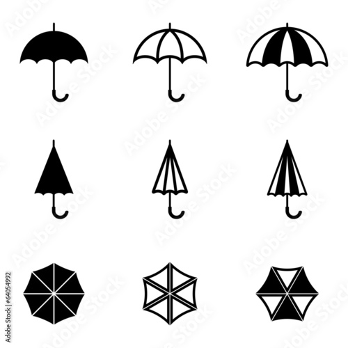 Valokuva  Vector black umbrella icons set