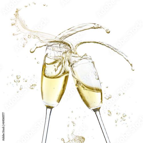 Fotografie, Obraz  Glasses of champagne with splash, isolated on white